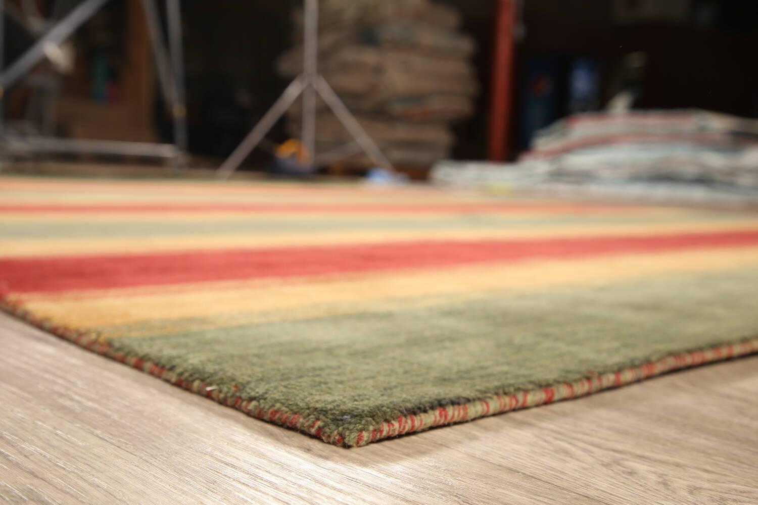 All-Over Striped Gabbeh Oriental Area Rug 9x12 image 7