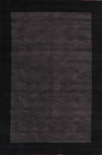 Charcoal Solid Gabbeh Oriental Area Rug 6x9