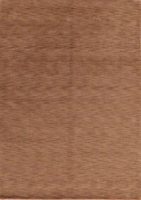 Brown Solid Gabbeh Oriental Area Rug 7x9