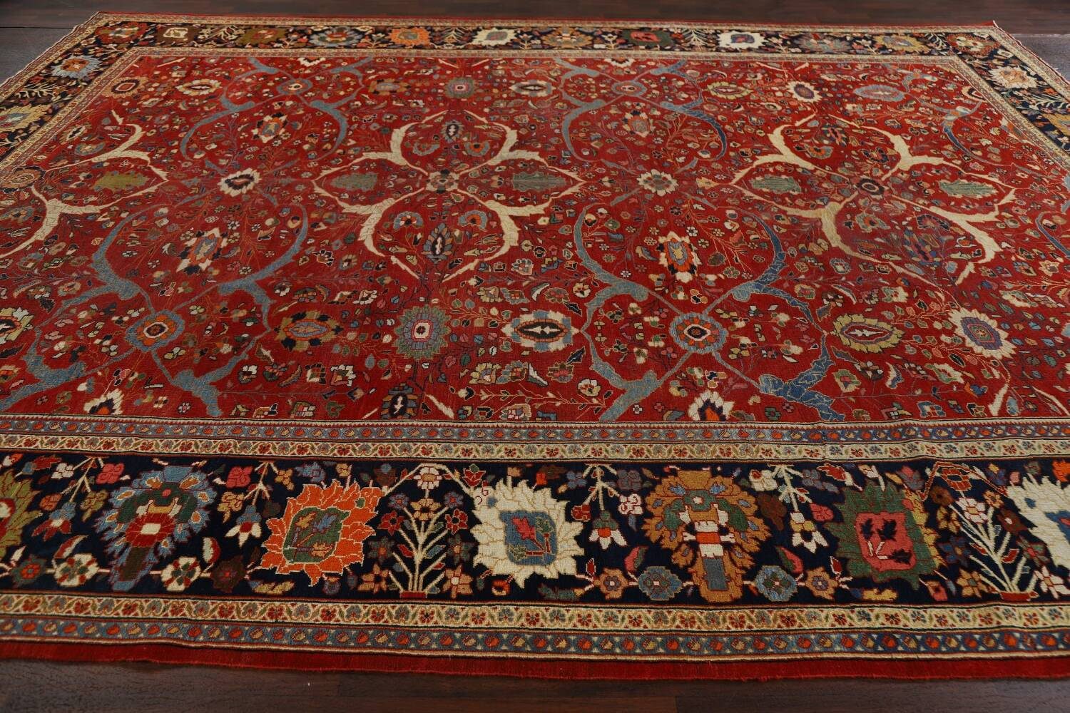 Pre-1900 Antique Sultanabad Vegetable Dye Persian Rug 11x14 image 16