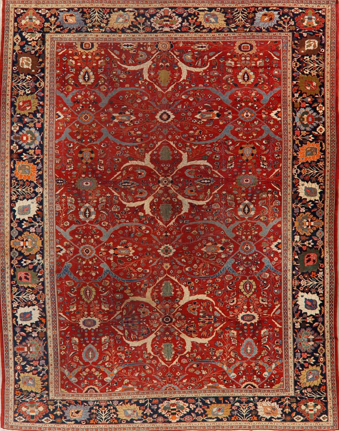Pre-1900 Antique Sultanabad Vegetable Dye Persian Rug 11x14 image 2