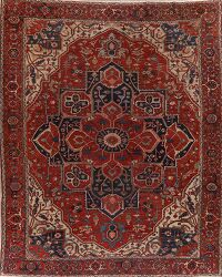 Pre-1900 Antique Heriz Serapi Persian Area Rug 11x14 Large