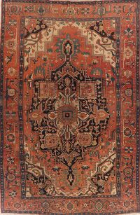 Pre-1900 Antique Large Heriz Serapi Persian Area Rug 10x15