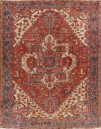 Pre-1900 Antique Heriz Serapi Persian Area Rug 10x12