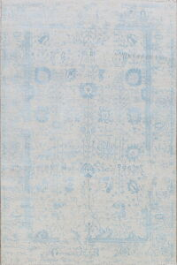 Wool & Silk Distressed Gray/Blue Oushak Oriental Area Rug 6x9