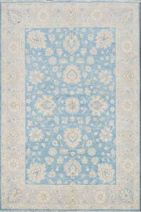 All-Over Floral Blue Oushak Turkish Area Rug 5x7