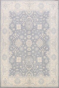 All-Over Floral Silver Gray Oushak Oriental Area Rug 9x12
