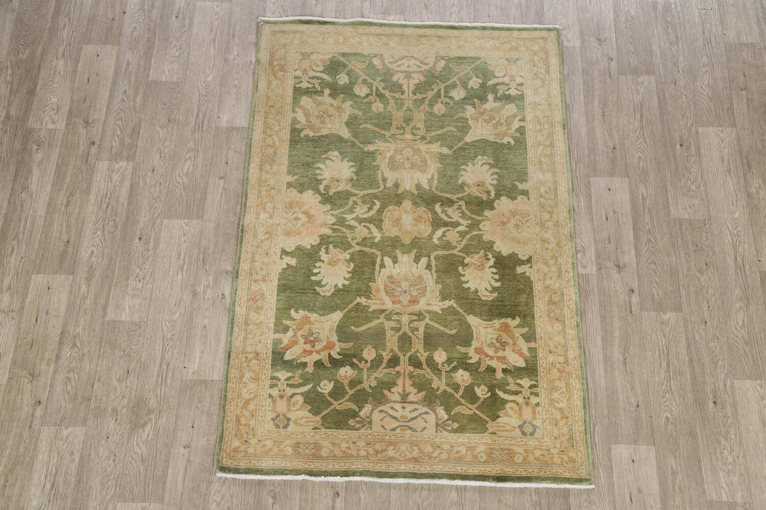 Vegetable Dye Floral Green Oushak Egyptian Area Rug 4x6 image 2