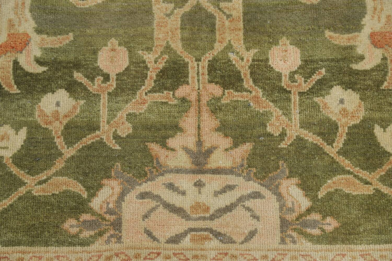 Vegetable Dye Floral Green Oushak Egyptian Area Rug 4x6 image 9