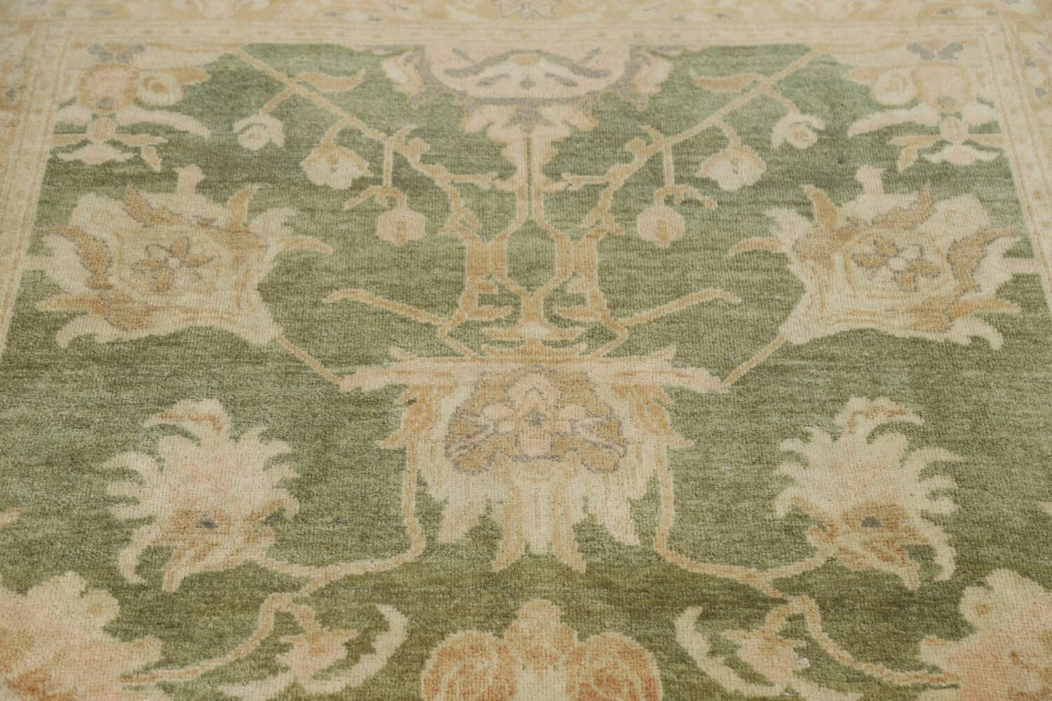 Vegetable Dye Floral Green Oushak Egyptian Area Rug 4x6 image 11
