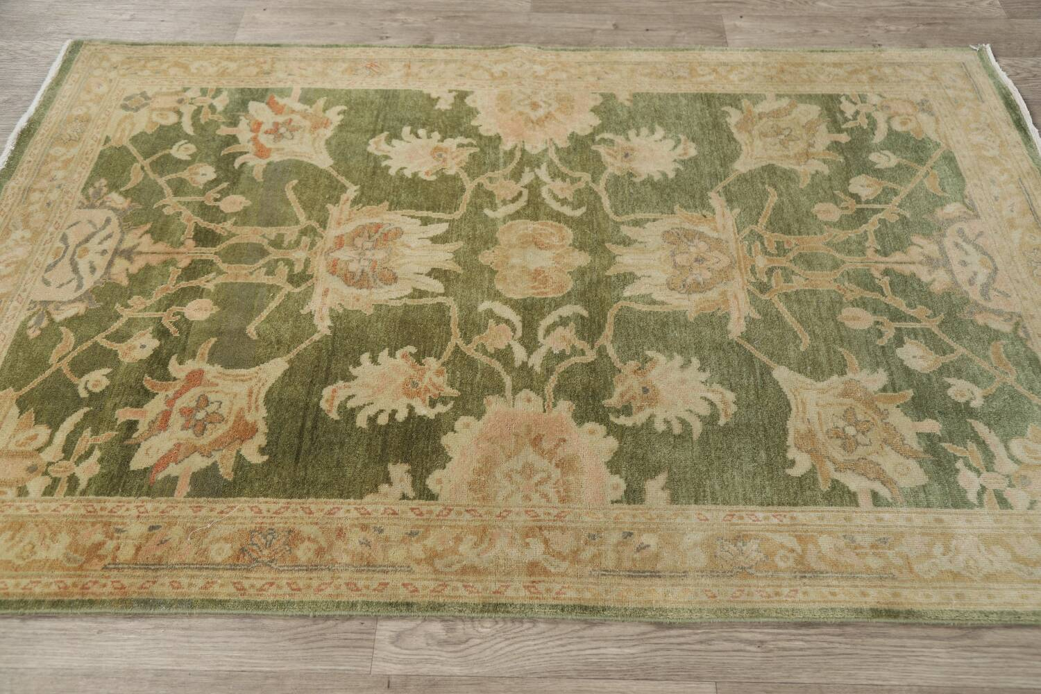 Vegetable Dye Floral Green Oushak Egyptian Area Rug 4x6 image 13