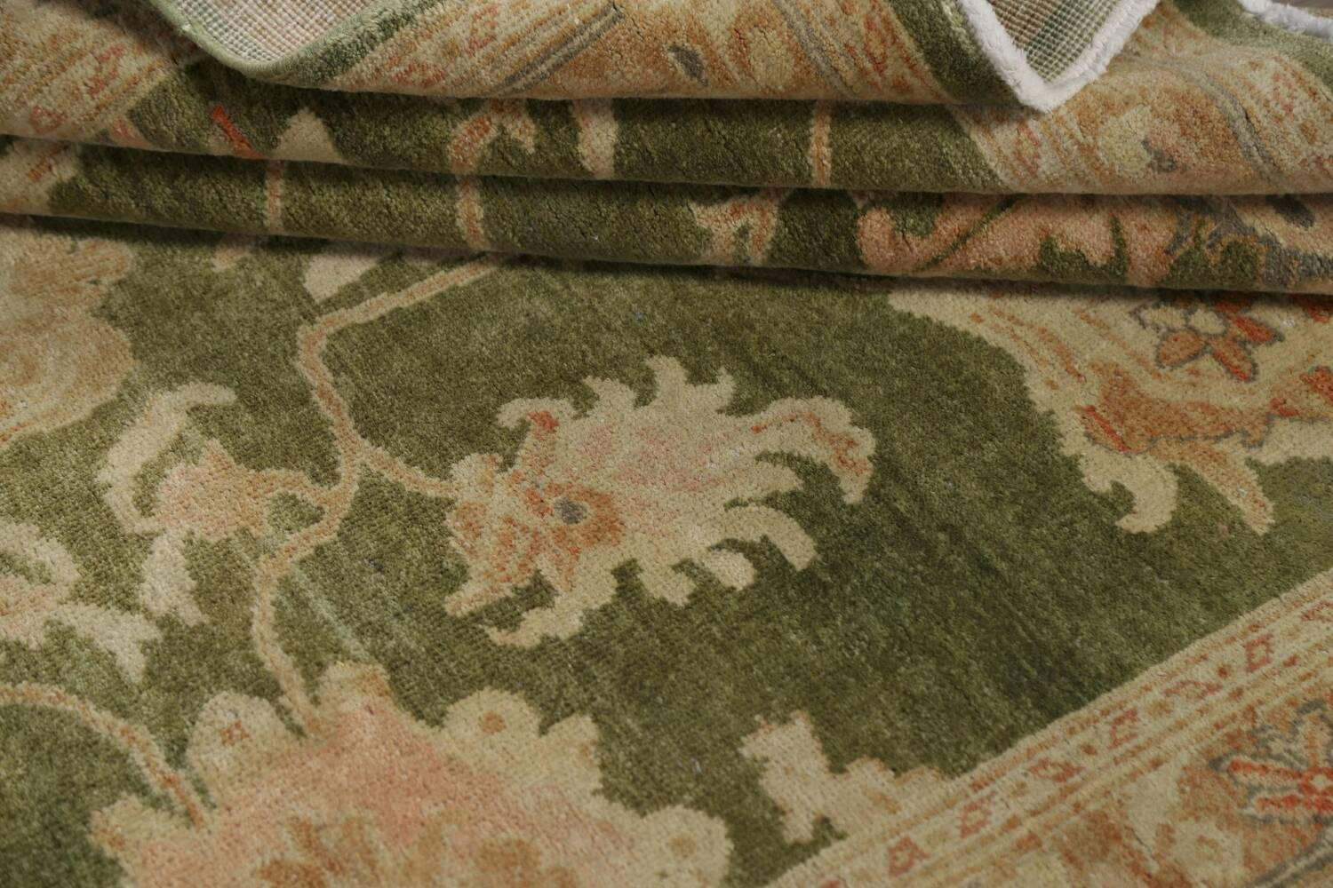 Vegetable Dye Floral Green Oushak Egyptian Area Rug 4x6 image 15