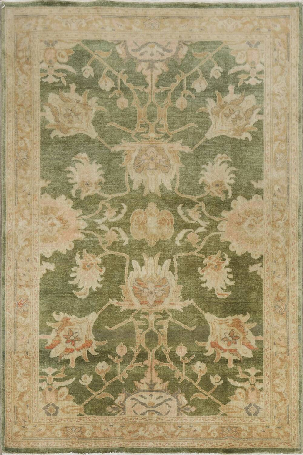 Vegetable Dye Floral Green Oushak Egyptian Area Rug 4x6 image 1