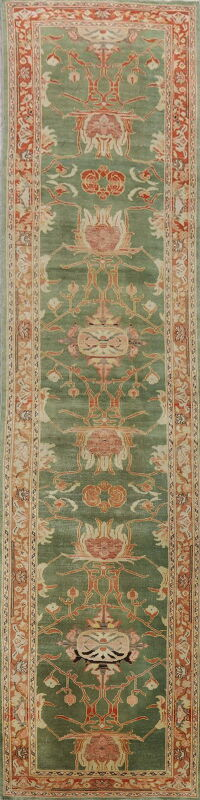 Vegetable Dye Green Oushak Egyptian Runner Rug 3x12
