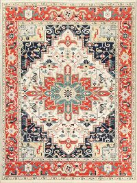 Vegetable Dye Geometric Heriz Oriental Area Rug 8x10