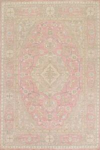 Geometric Oushak Turkish Pink Area Rug 9x10