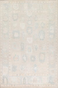 Muted All-Over Geometric Oushak Turkish Area Rug 9x12