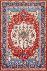 Vegetable Dye Red Heriz Serapi Oriental Area Rug 6x9