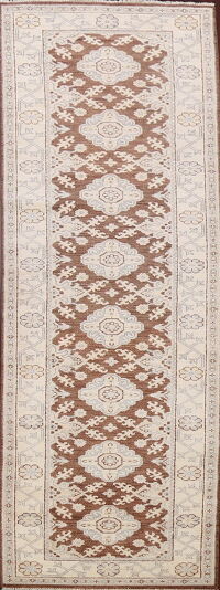 Brown Geometric Khotan Oriental Runner Rug 3x12