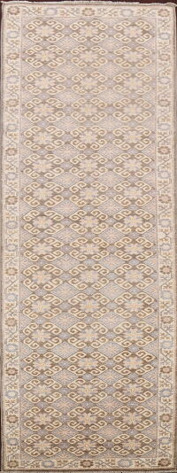All-Over Geometric Khotan Oriental Runner Rug 3x12