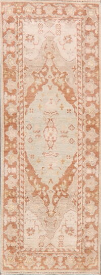 Geometric Oushak Turkish Runner Rug 2x6