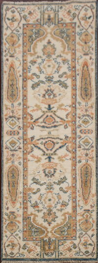 Geometric Oushak Turkish Oriental Runner Rug 2x6