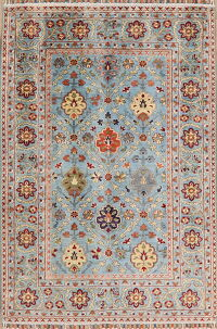 Vegetable Dye Floral Khotan Oriental Area Rug 4x6