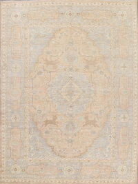 Vegetable Dye Geometric Oushak Turkish Area Rug 10x14