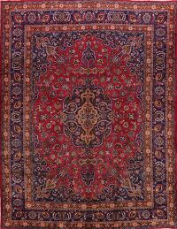 Vintage Floral Mashad Persian Red Area Rug 10x13