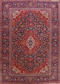 Floral Kashan Persian Navy Blue Area Rug 8x12
