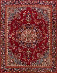 Vintage Floral Mashad Persian Red Area Rug 9x12