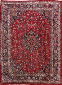 Vintage Floral Mashad Persian Red Area Rug 8x11