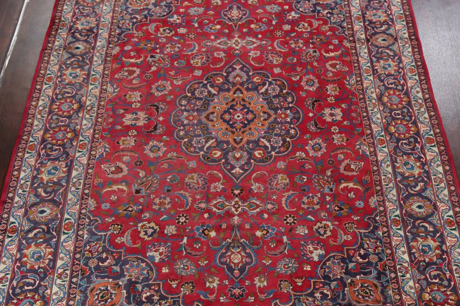 Vintage Floral Mashad Persian Red Area Rug 8x11 image 3