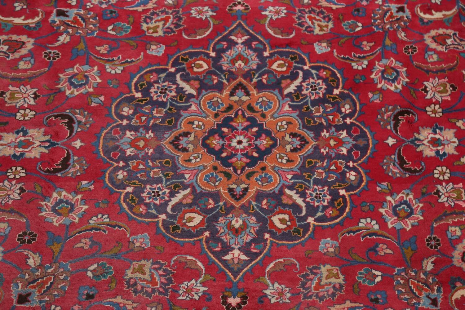 Vintage Floral Mashad Persian Red Area Rug 8x11 image 4