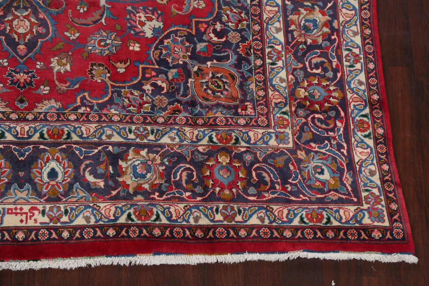 Vintage Floral Mashad Persian Red Area Rug 8x11 image 5