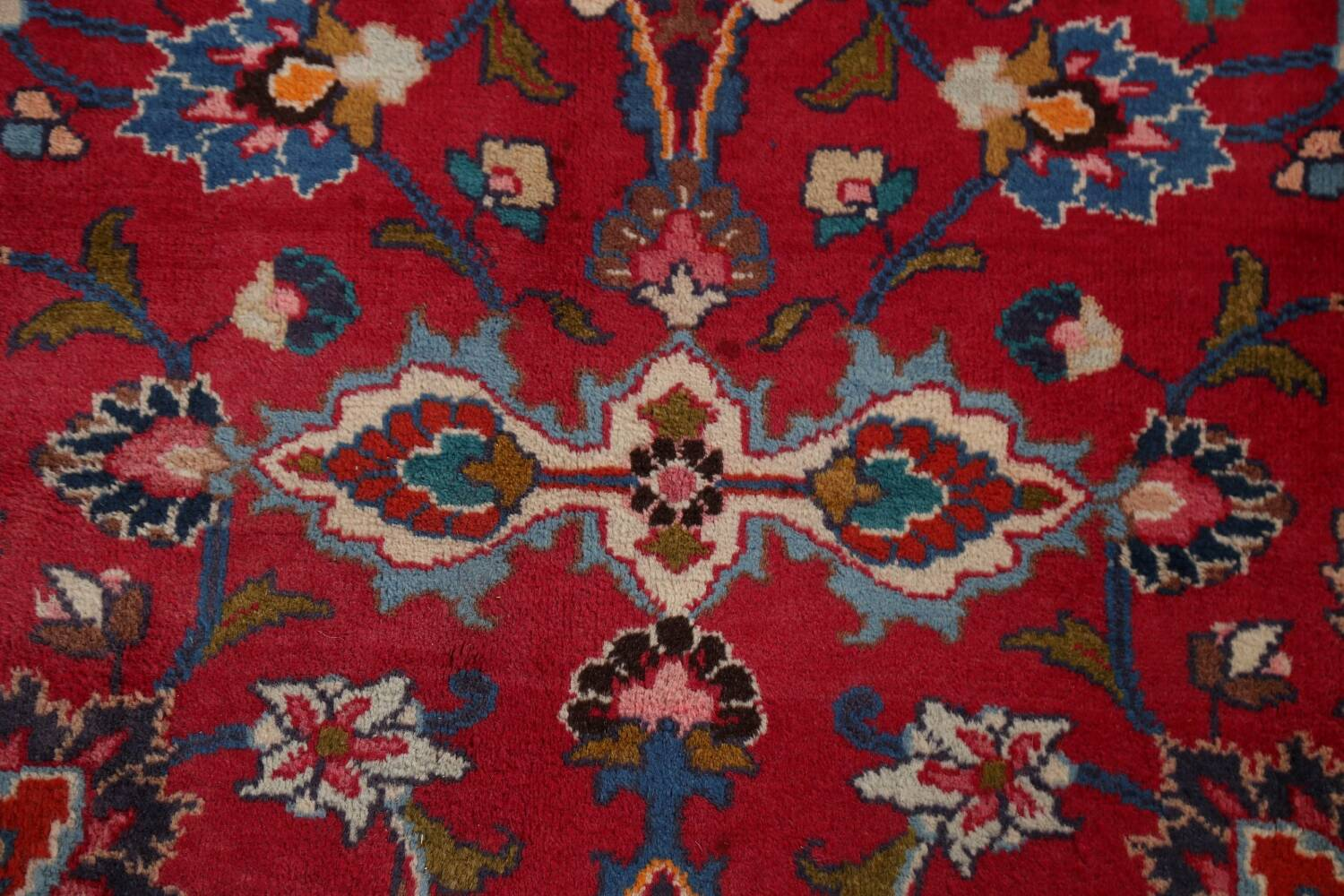 Vintage Floral Mashad Persian Red Area Rug 8x11 image 11