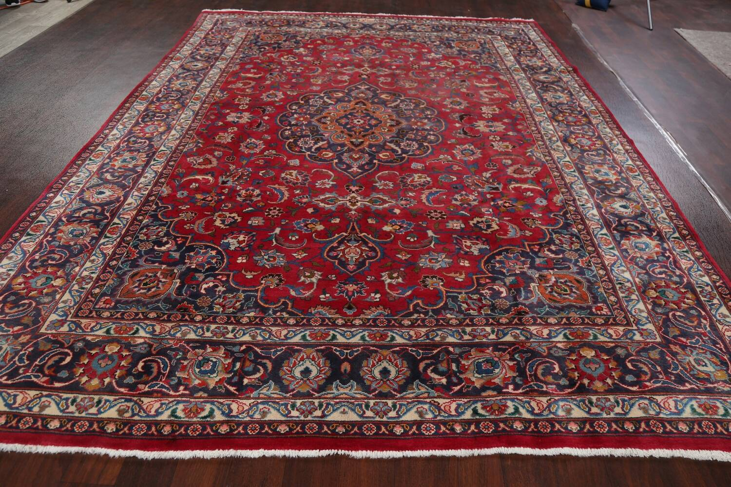 Vintage Floral Mashad Persian Red Area Rug 8x11 image 16