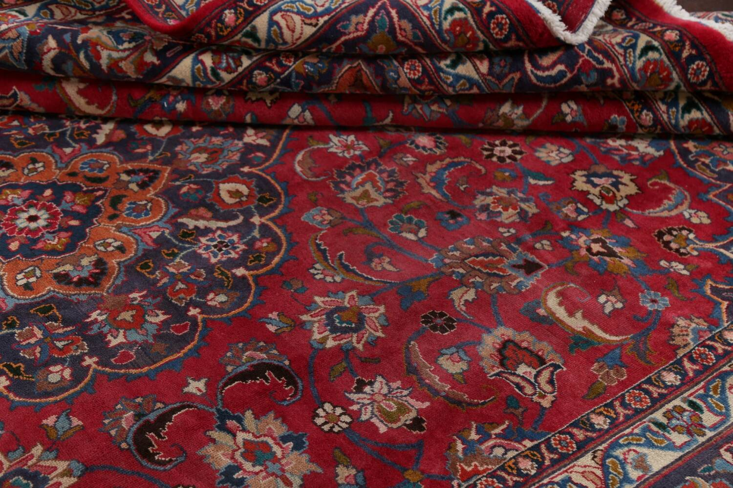 Vintage Floral Mashad Persian Red Area Rug 8x11 image 17