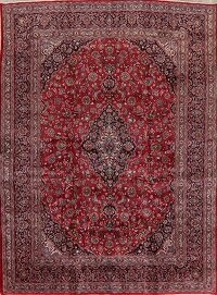 Vintage Floral Mashad Persian Red Area Rug 9x13