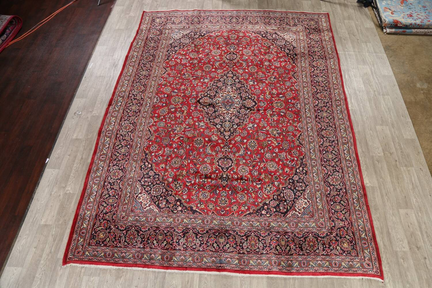 Vintage Floral Mashad Persian Red Area Rug 9x13 image 2