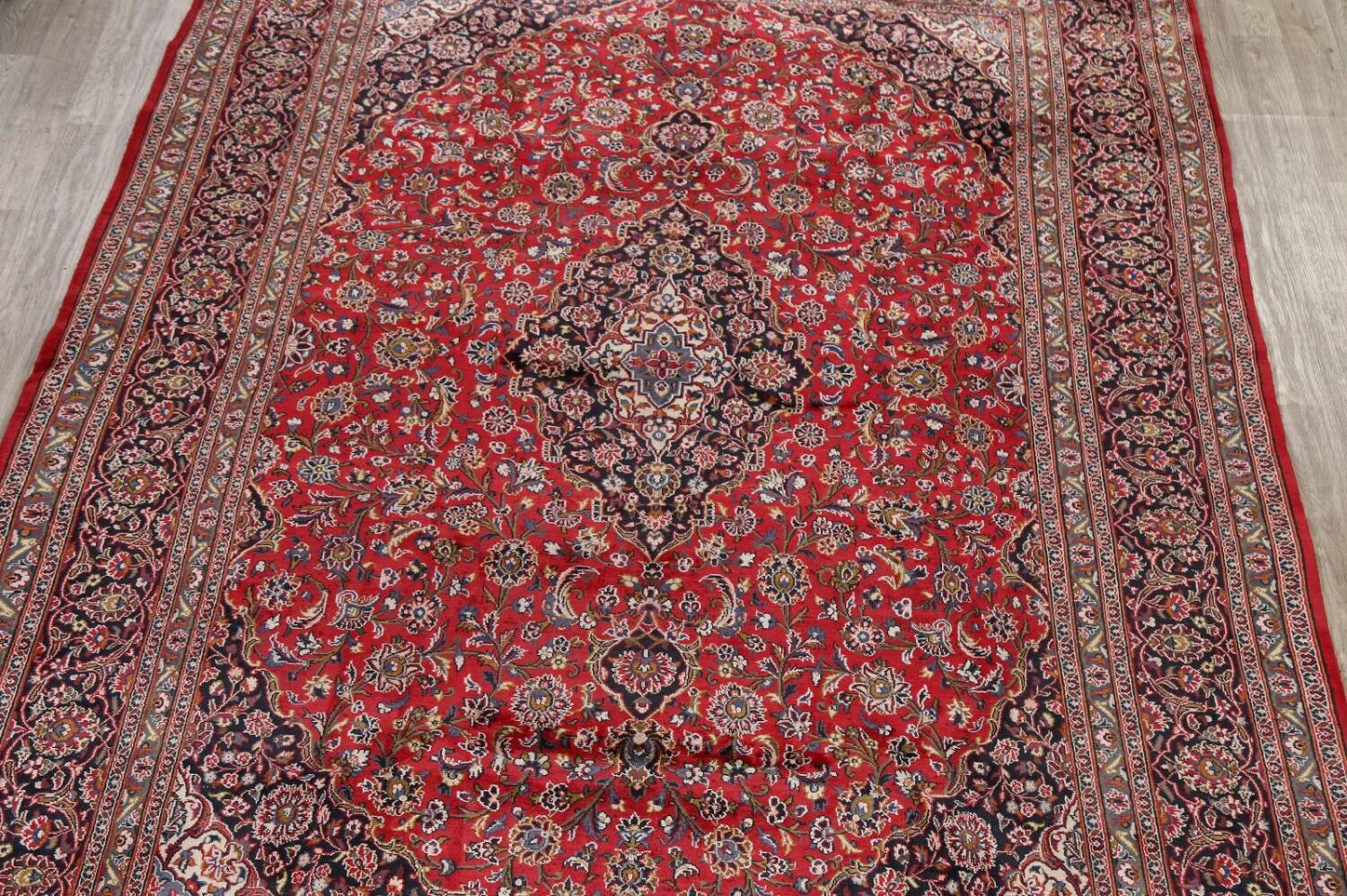 Vintage Floral Mashad Persian Red Area Rug 9x13 image 3