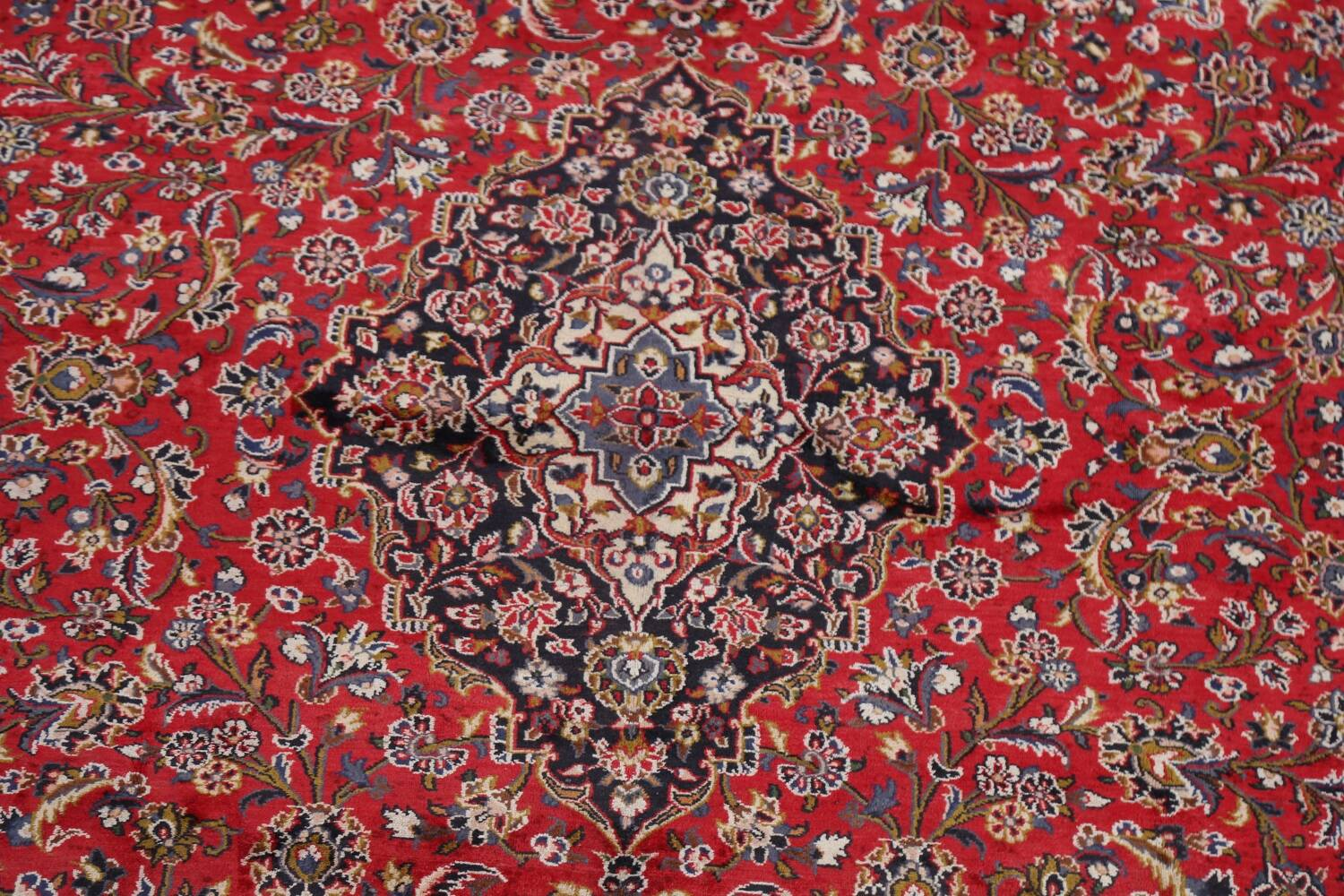 Vintage Floral Mashad Persian Red Area Rug 9x13 image 4