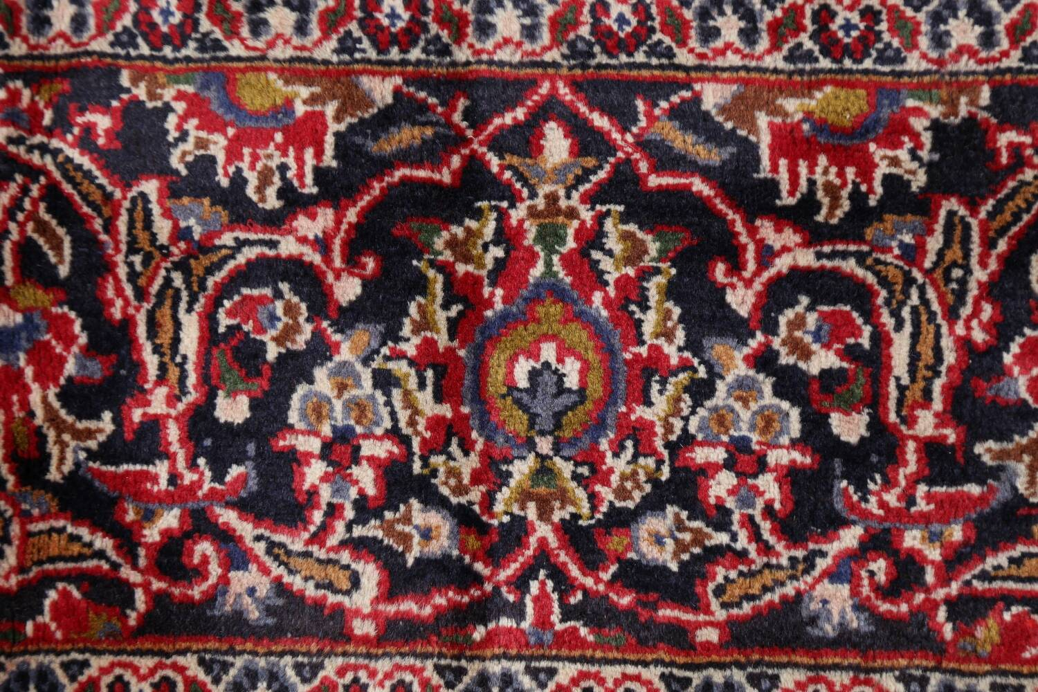 Vintage Floral Mashad Persian Red Area Rug 9x13 image 9