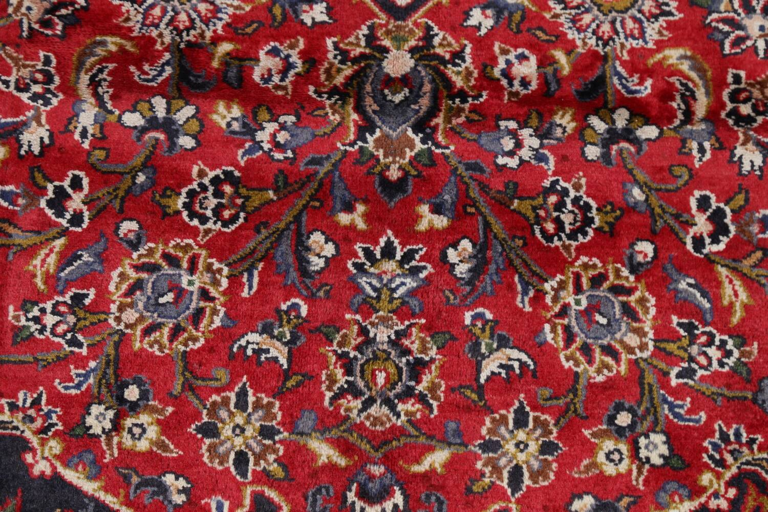 Vintage Floral Mashad Persian Red Area Rug 9x13 image 10