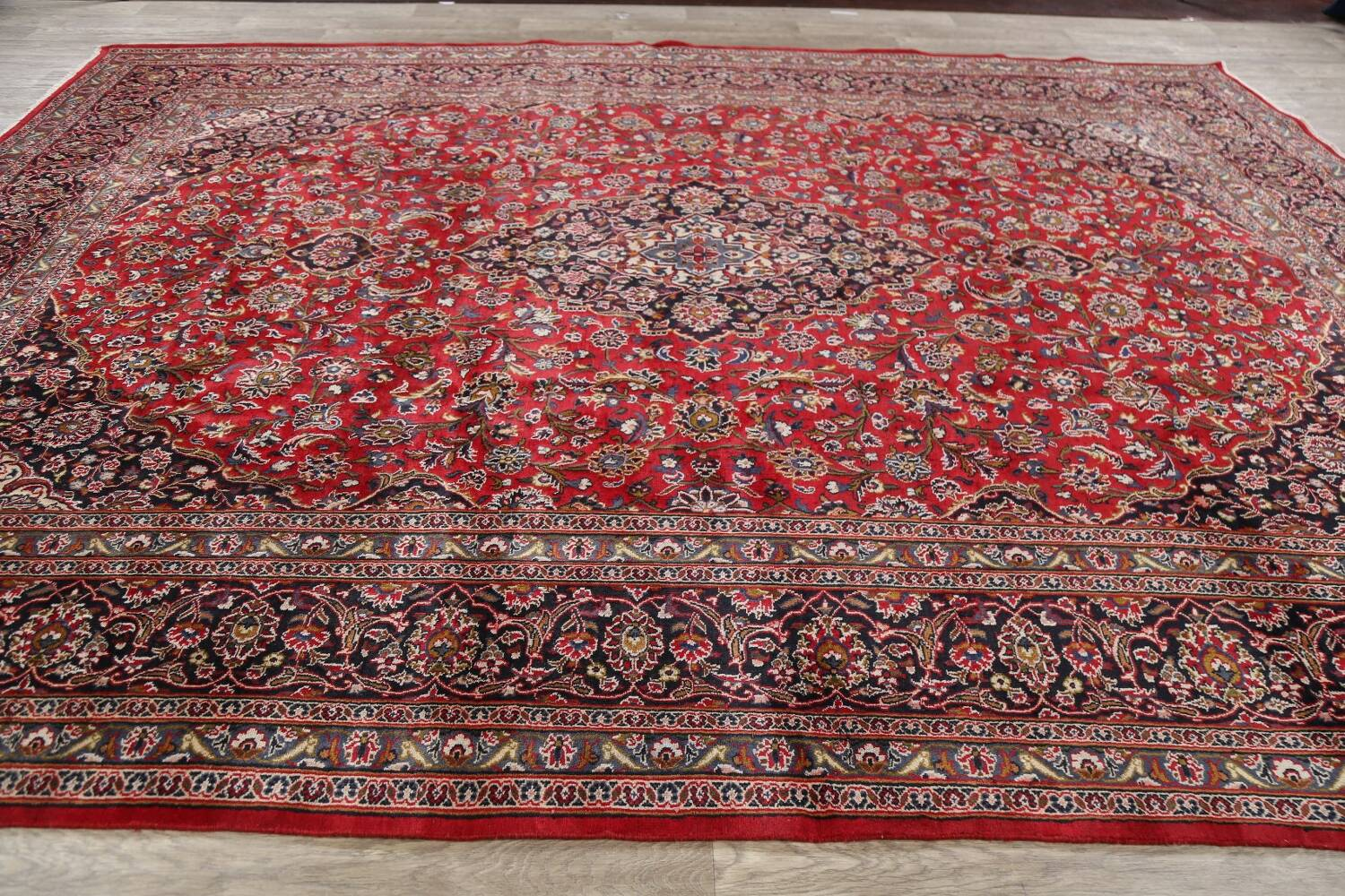 Vintage Floral Mashad Persian Red Area Rug 9x13 image 17