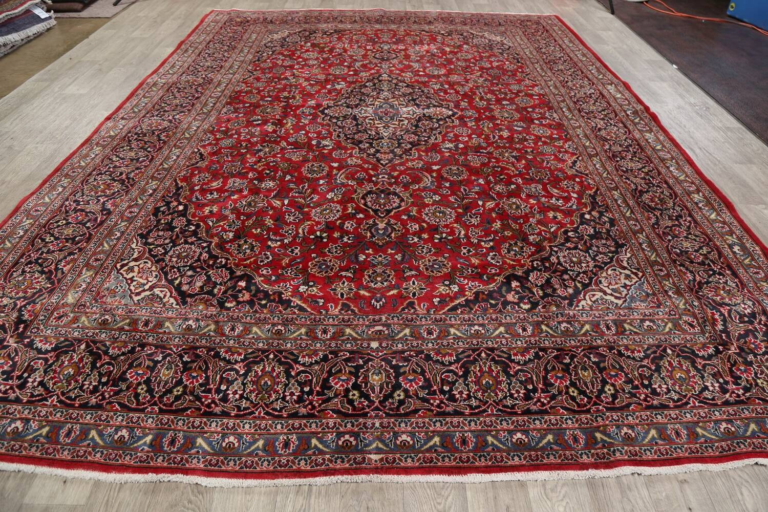 Vintage Floral Mashad Persian Red Area Rug 9x13 image 18
