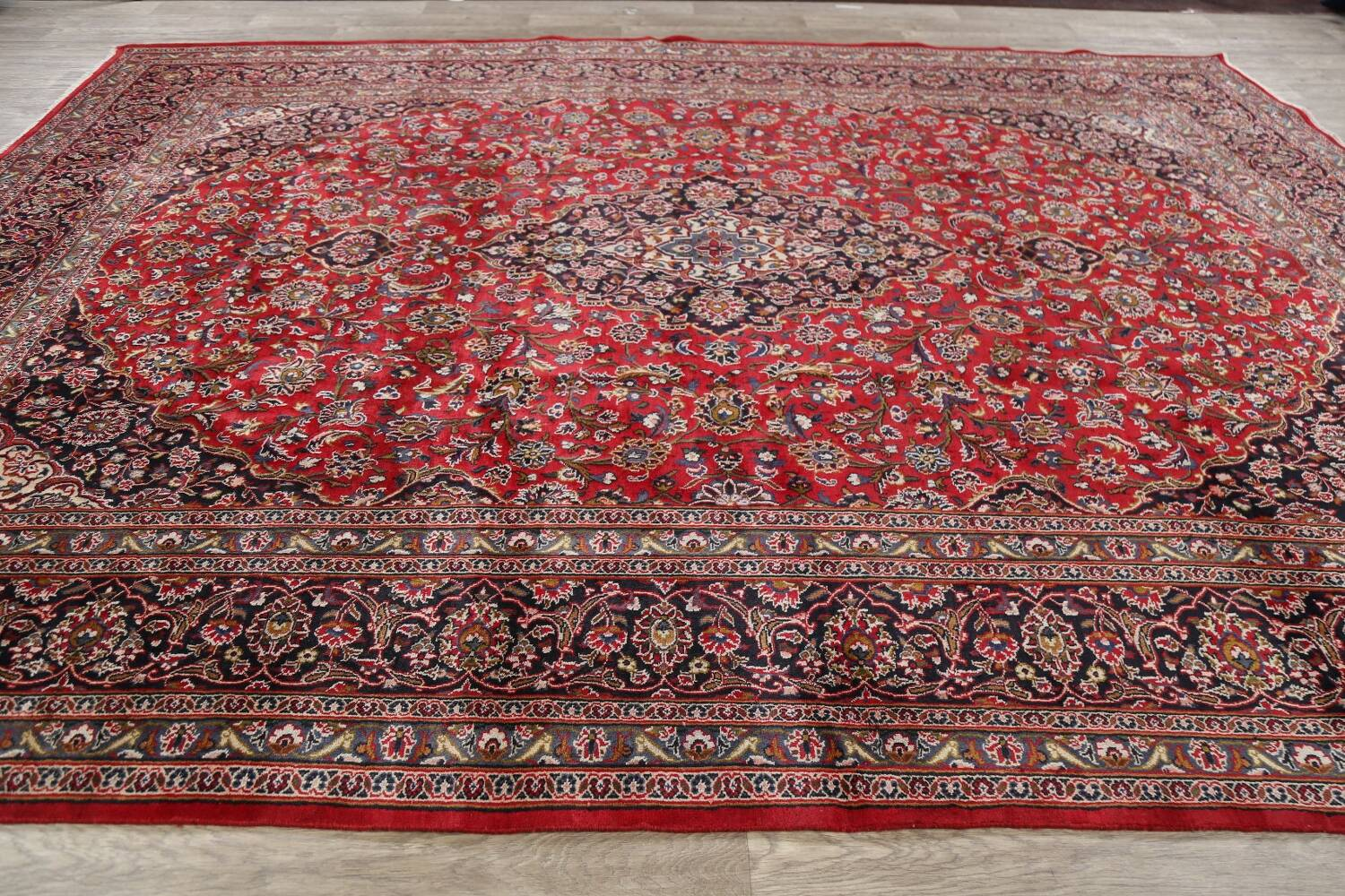 Vintage Floral Mashad Persian Red Area Rug 9x13 image 20