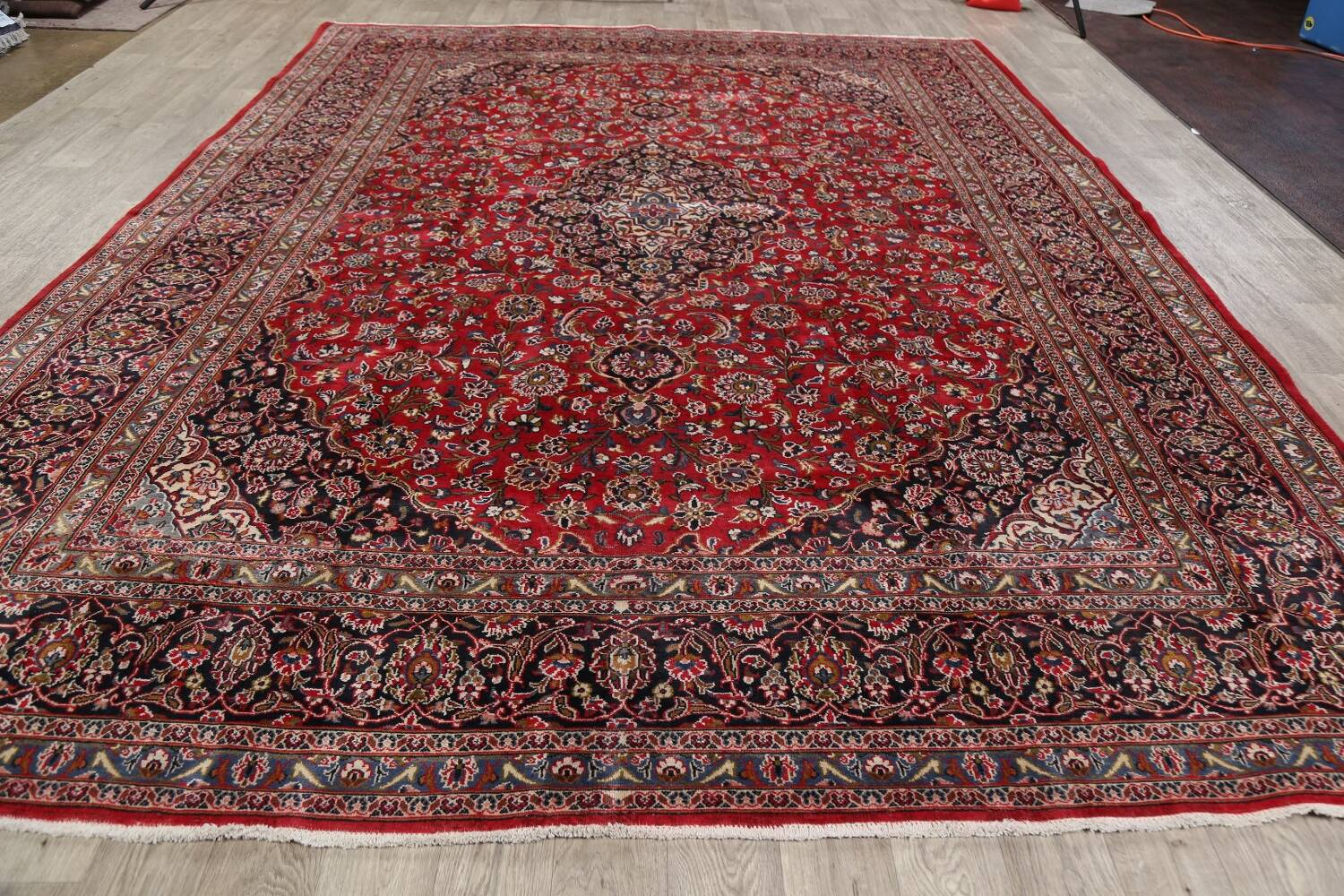 Vintage Floral Mashad Persian Red Area Rug 9x13 image 21