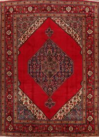 Vintage Geometric Red Tabriz Persian Area Rug 9x13