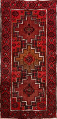 Geometric Red Balouch Persian Area Rug 5x8